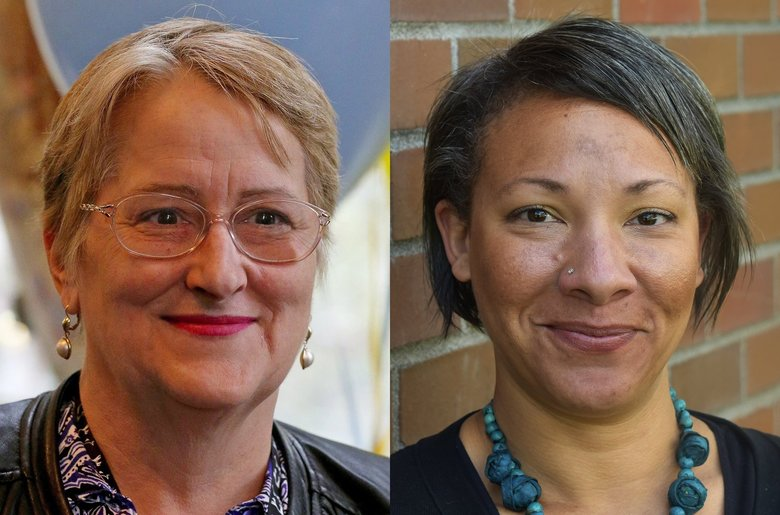Leslie Harris, left, the incumbent, and Molly Mitchell are running for the District 6 seat on the Seattle School Board.  (Courtesy of campaign )