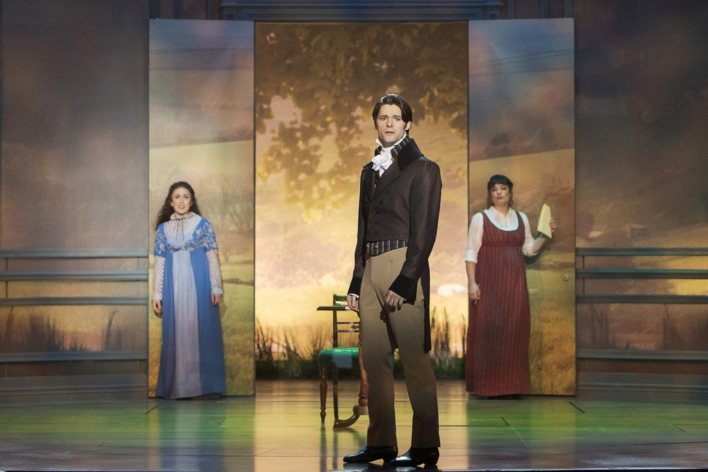 "Olivia Hernandez as Elizabeth Bennet, Steven Good as Mr. Darcy, and Laura Michelle Kelly as Jane Austen in ""Austen's Pride."" (Tracy Martin)"
