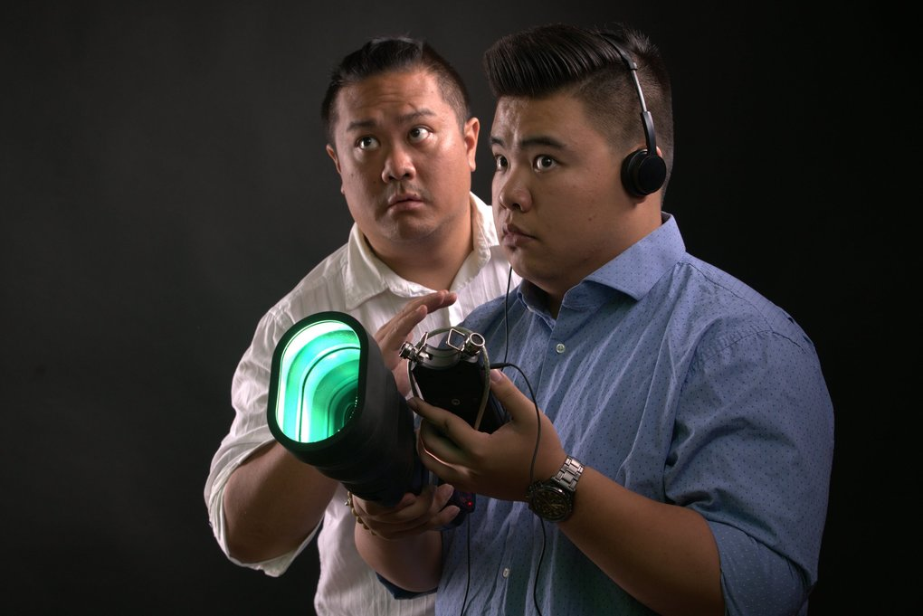 "Van Lang Pham (left) and Sean Nguyen play ghost-hunting brothers in Pork Filled Players' production of ""The Brothers Paranormal"" at Theatre Off Jackson through Nov. 16. (Alabastro Photography)"