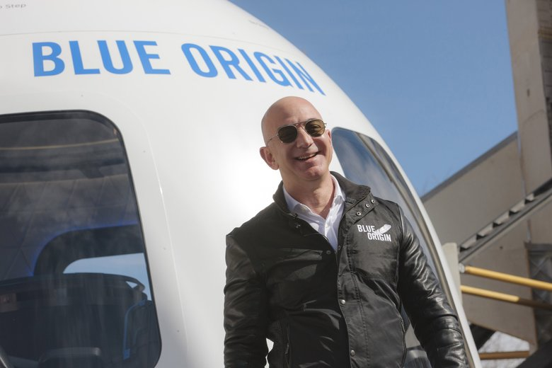 Jeff Bezos, chief executive officer of Amazon.com and founder of Blue Origin, at the unveiling of the Blue Origin New Shepard system during the Space Symposium in Colorado Springs, Colorado, on April 5, 2017. (Matthew Staver / Bloomberg)