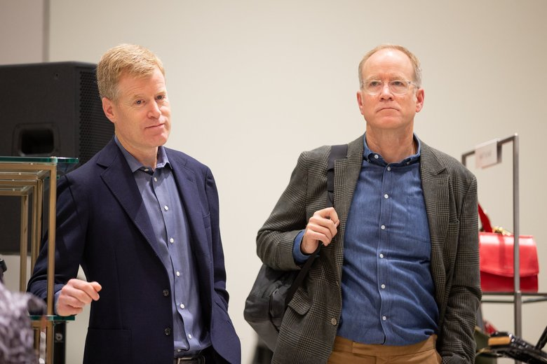 """Nordstrom co-presidents Erik, left, and Peter  Nordstrom look on during a press tour of the company's new flagship store in New York City. Nordstrom has spent """"north of $500 million"""" on the Manhattan store. (Andy Bao / The Seattle Times)"""
