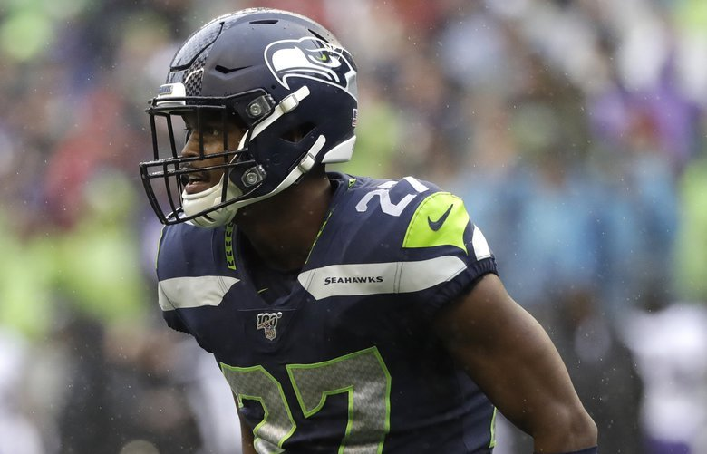 Seattle Seahawks defensive back Marquise Blair in action against the Baltimore Ravens during an NFL football game, Sunday, Oct. 20, 2019, in Seattle. (AP Photo/Elaine Thompson) NYOTK