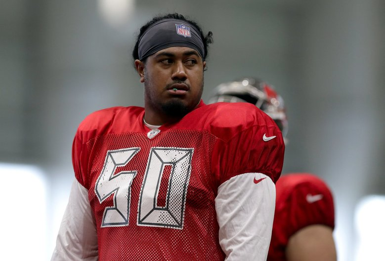 Tampa Bay Buccaneers defensive tackle Vita Vea during an NFL football training camp practice Sunday, July 28, 2019, in Tampa, Fla. (Chris O'Meara / AP)