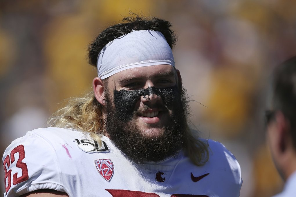 Washington State offensive lineman Liam Ryan pauses on the field prior to an NCAA college football game against Arizona State Saturday, Oct. 12, 2019, in Tempe, Ariz. Arizona State defeated Washington State 38-34. (Ross D. Franklin / AP)