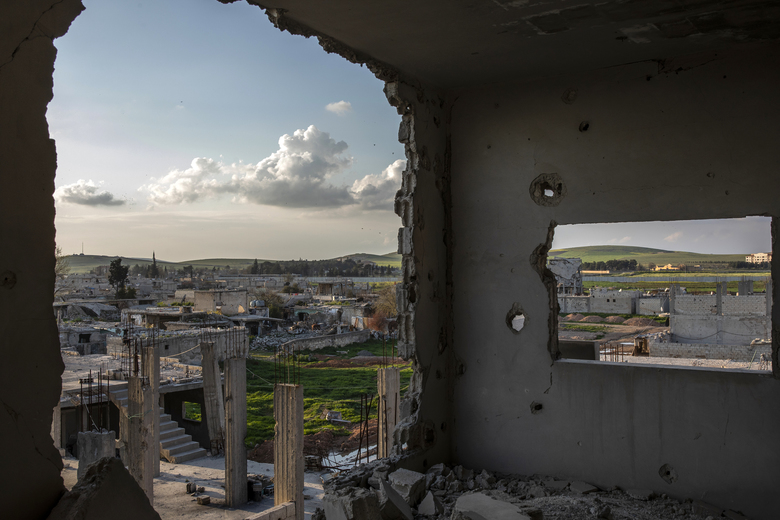 FILE — The former front, where Kurdish fighters battled the Islamic State five years ago, in Kobani, Syria, April 3, 2019. President Donald Trump's decision to pull troops from northern Syria upended a 5-year alliance with the Kurds and threw the operation against Abu Bakr al-Baghdadi into disarray. (Ivor Prickett/The New York Times)