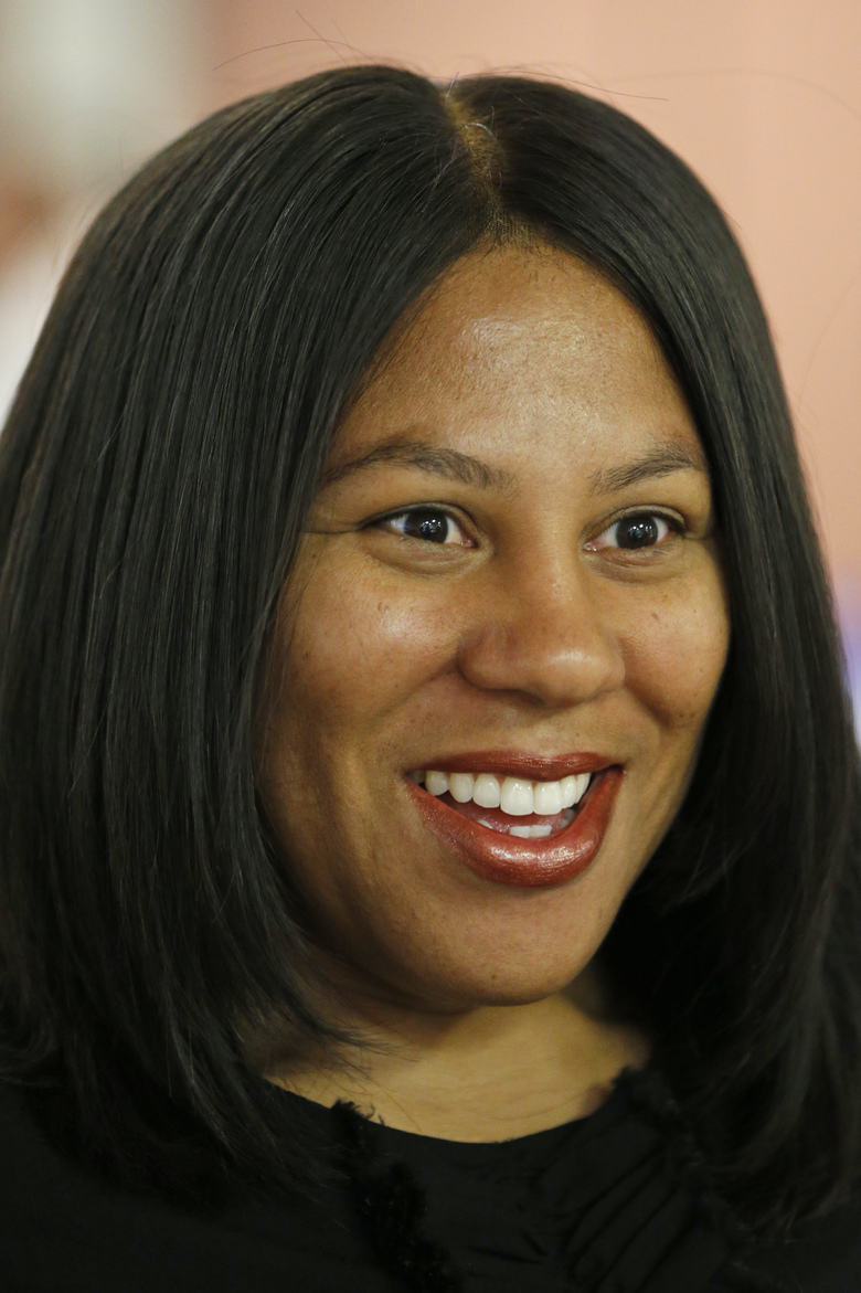 Democratic candidate for the 66th district for the Virginia House of Delegates, Shelia Bynum-Coleman, talks with supporters at a meeting of the Liberal Women of Chesterfield County in Chesterfield, Va., Wednesday, Sept. 25, 2019. Bynum-Coleman is facing House Speaker Kirk Cox in the November election. (AP Photo/Steve Helber)