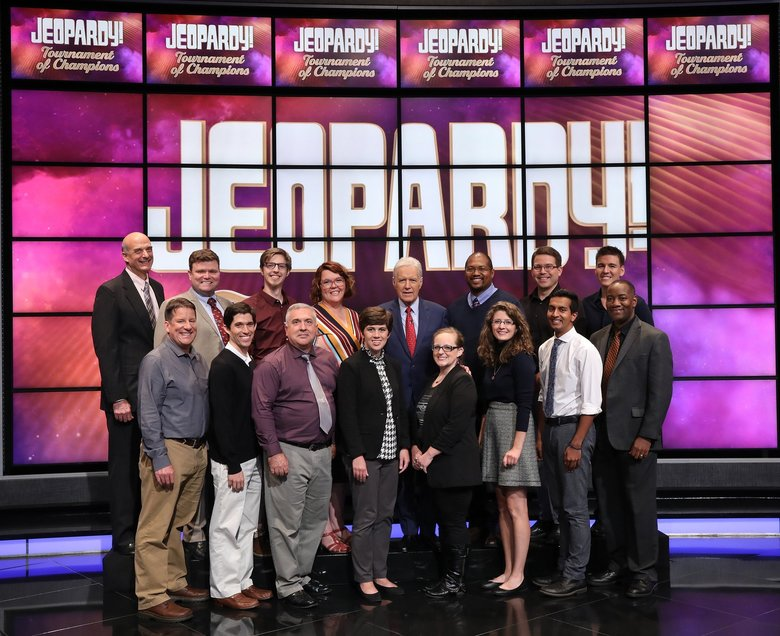"""The """"Jeopardy! Tournament of Champions"""" quarterfinal matchups. James Holzhauer and Emma Boettcher will face each other again, this time in the final round. Boettcher beat Holzhauer on June 3, ending his streak of 33 games. (Carol Kaelson / Courtesy of Jeopardy Productions)"""