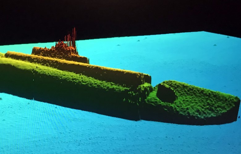 This image provided by Lost52 Project was stitched together from sonar data collected by a 14-foot long autonomous underwater vehicle exploring the wreckage of the USS Grayback on the seafloor. (Tim Taylor/Lost52 Project via The New York Times)  — NO SALES; FOR EDITORIAL USE ONLY WITH NYT STORY SLUGGED WWII MISSING SUBMARINE BY JOHN ISMAY FOR NOV. 10, 2019. ALL OTHER USE PROHIBITED. — XNYT76 XNYT76