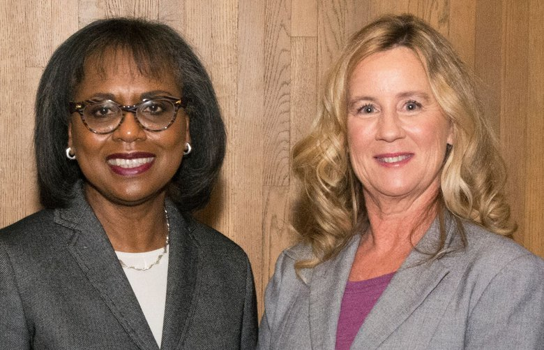 Anita Hill and Christine Blasey Ford at the University of Washington Graduate School's public lecture series, Nov. 6, 2019.