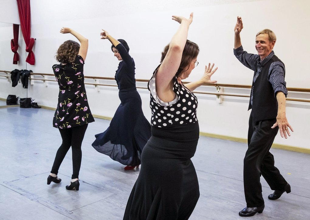 "John Seymour, right, attends a flamenco class at American Dance Institute in Greenwood. Seymour, 76, started flamenco three years ago. ""It's joyous, it's ferocious,"" he says. (Erika Schultz / The Seattle Times)"