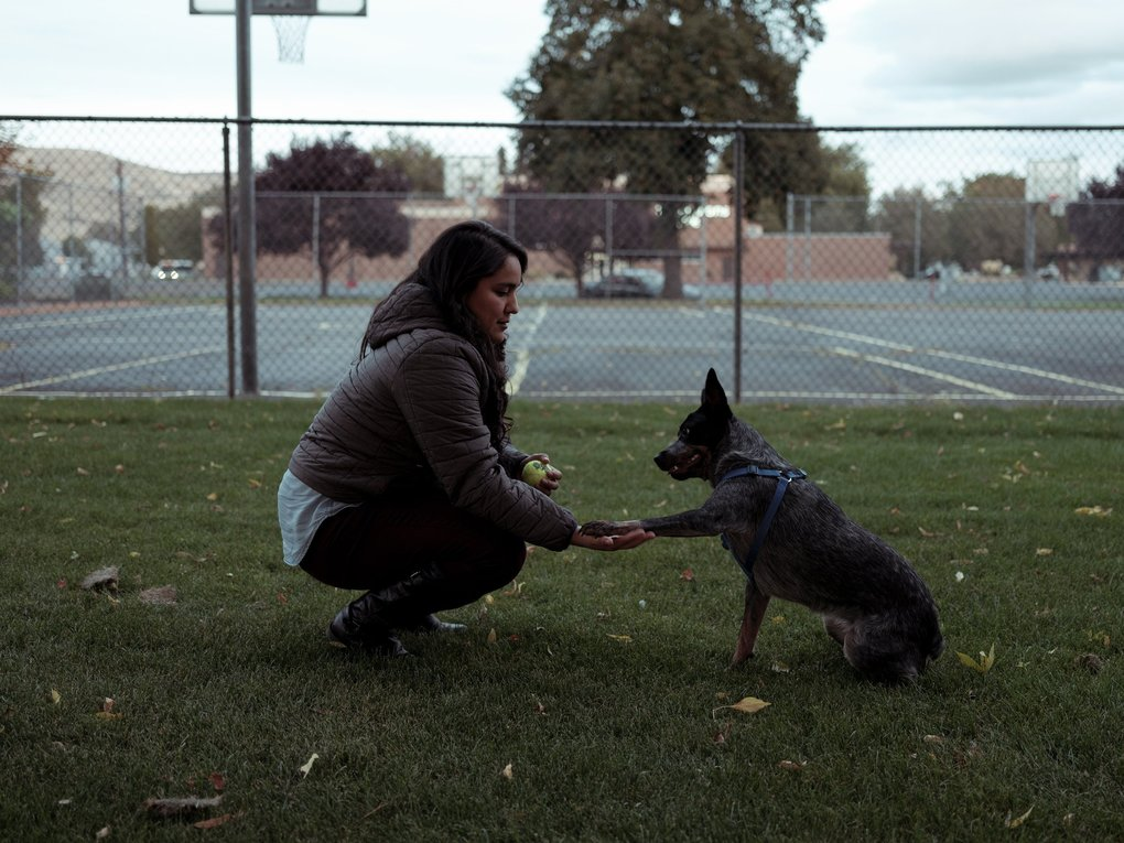Dulce Gutiérrez, a member of the City Council, with her dog at a park in Yakima on Oct. 3. Gutiérrez fought for sidewalks, street lamps and other infrastructure in Yakima's largely Latino east-side neighborhoods. (Mason Trinca / The New York Times)