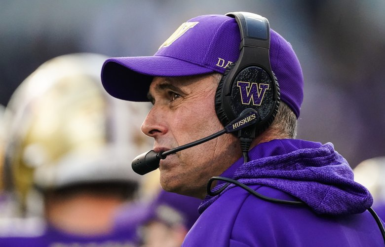 Washington coach Chris Petersen has yet to lose to the Cougars.  The Washington State Cougars played the Washington Huskies in the 2019 edition of the Apple Cup game at Husky Stadium in Seattle, WA Friday, November 29, 2019. 212245