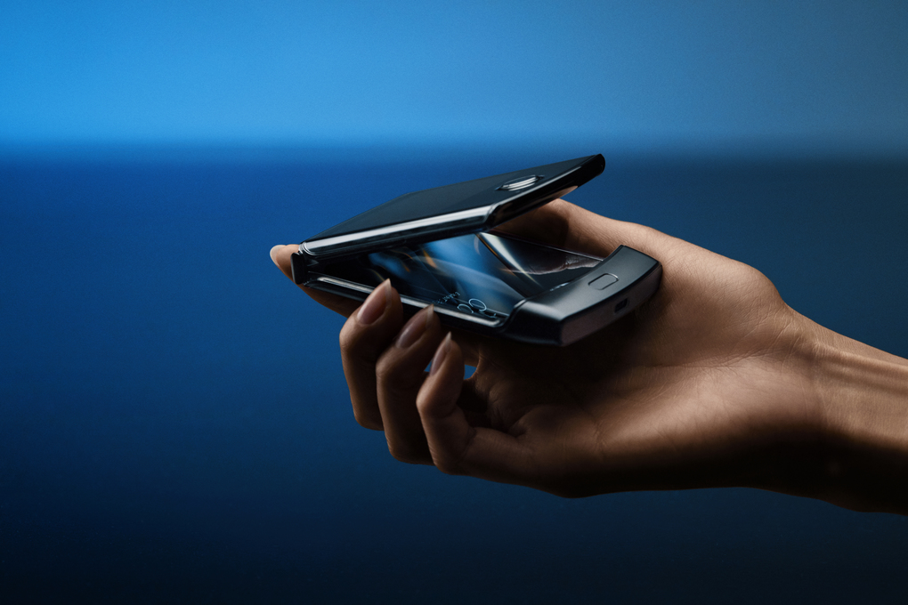 Modeled after the popular 2000s flip phone, the new Motorola Razr uses folding technology to open up to a 6.2-inch screen. (Courtesy of Motorola)