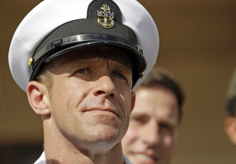 Navy Special Operations Chief Edward Gallagher leaves a military court on Naval Base San Diego in July 2019.  (AP Photo / Gregory Bull, File)