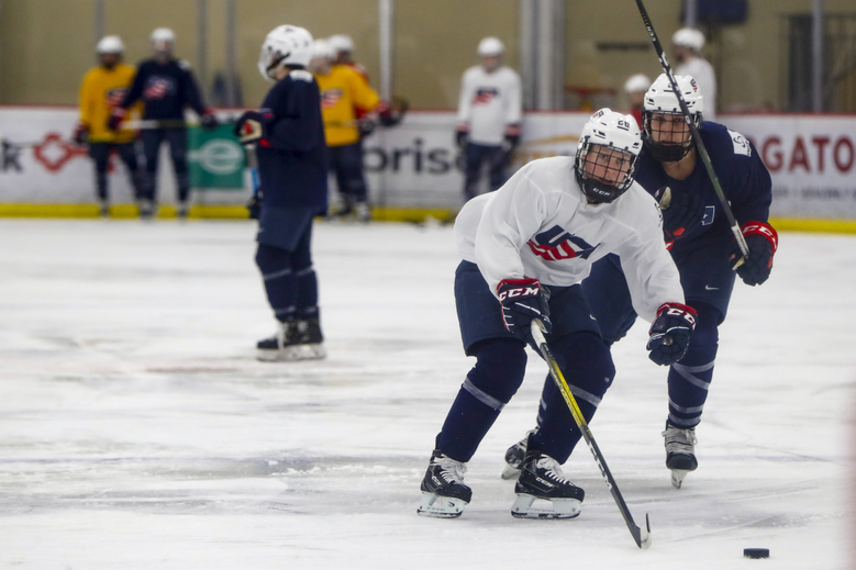 "In this photo taken Monday, Nov. 4, 2019, Kendall Coyne-Schofield, center, a member of the U.S. Women's National hockey team, goes through drills during their practice in Cranberry Township, Butler County, Pa. While the WNBA continues to grow and women's professional soccer is capitalizing off a World Cup bump, women's hockey remains at a standstill with top players opting not to play professionally in North America in hopes of eventually creating a sustainable league with salaries that allow them to focus on their game and not just getting by. ""For me, my clock is ticking,"" Schofield said. ""But if I can leave this game better than it was, that's what's most important."" (AP Photo/Keith Srakocic)"
