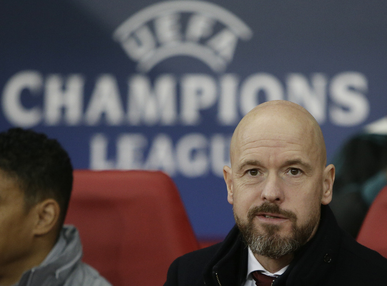 Ajax's head coach Erik ten Hag looks to photographers prior to the group H Champions League soccer match between Lille and Ajax at the Stade Pierre Mauroy – Villeneuve d'Ascq stadium in Lille, France, Wednesday, Nov. 27, 2019. (AP Photo/Michel Spingler)
