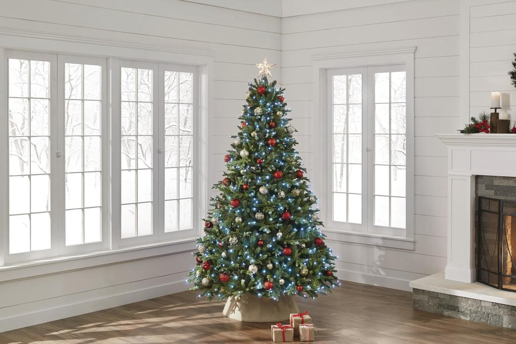 Home Depot shows the Twinkly 600-light, 7.5 ft Swiss Mountain tree, which lets you use an app to program whatever colored light gymnastics you'd like. (Home Depot via AP)