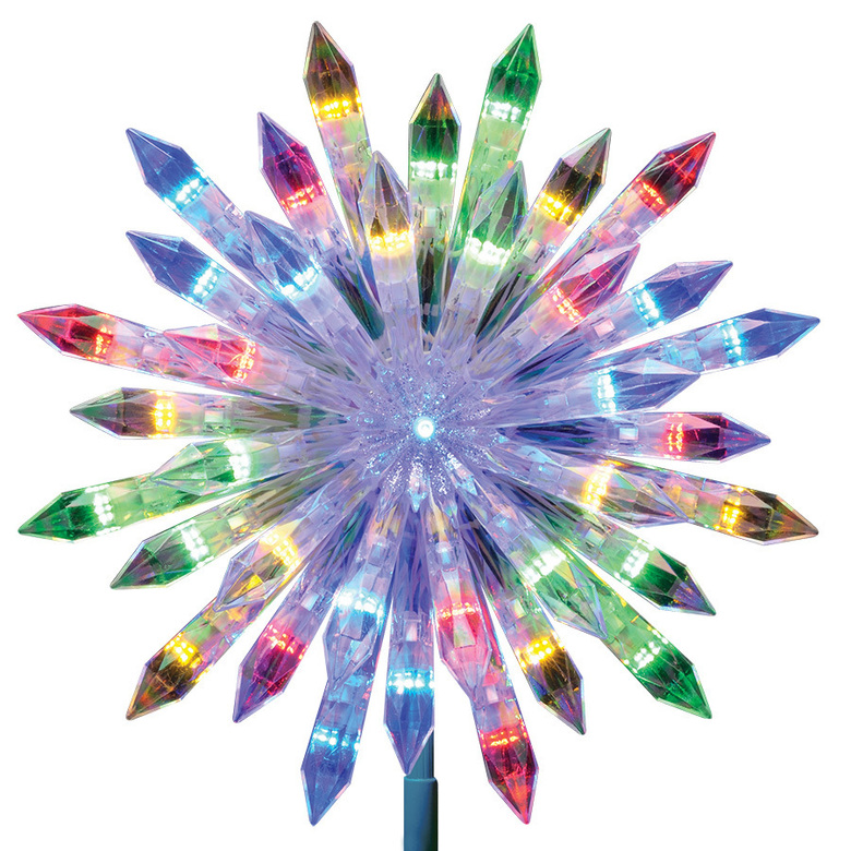 Lowes' rainbow-hued color changing starburst tree topper. In keeping with the trend towards 70s and 80s home décor, consider dressing up the home with some sparkle and color that evokes the festive party aspect of those eras. (Lowe's Home Improvement via AP)