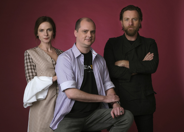 """This Oct. 28, 2019 photo shows writer-director Mike Flanagan, center, and actors Rebecca Ferguson, left, and Ewan McGregor posing for a portrait to promote the film, """"Doctor Sleep,"""" at The London West Hollywood hotel in West Hollywood, Calif. (Photo by Chris Pizzello/Invision/AP)"""