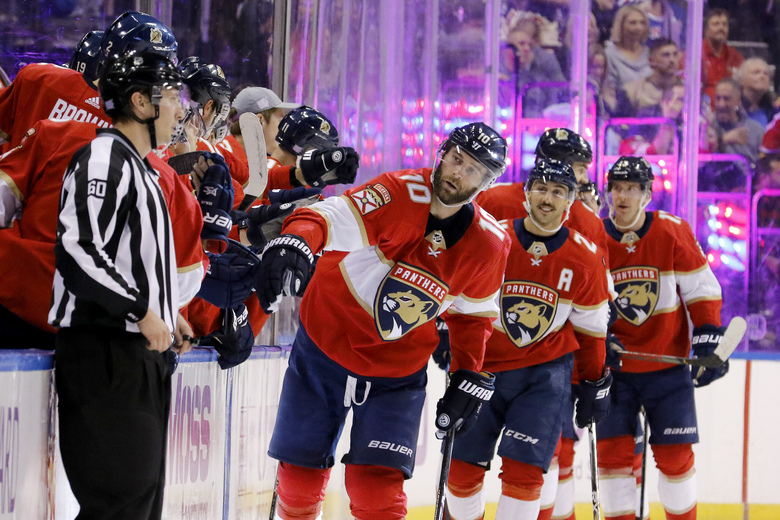 Florida Panthers right wing Brett Connolly (10) celebrates his second-period goal against the New York Rangers in an NHL hockey game, Saturday, Nov. 16, 2019, in Sunrise, Fla. (AP Photo/Joe Skipper)