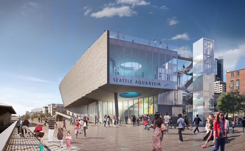 The Seattle Aquarium's  planned shark pavilion is 50,000 square feet, and expected to cost $113 million. (LMN Architects)