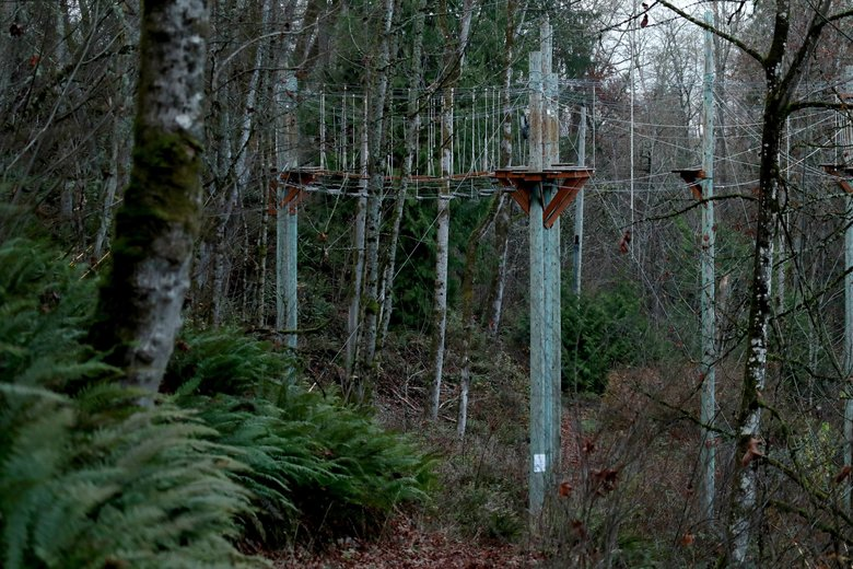 Camp Long offers a 4H challenge course for height-seekers who want to check out West Seattle from the trees. (Erika Schultz / The Seattle Times)