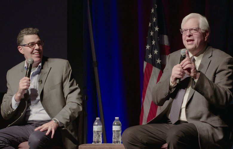 """No Safe Spaces"" is built around a cross-country speaking tour pairing comedian Adam Carolla, left, and conservative commentator Dennis Prager."