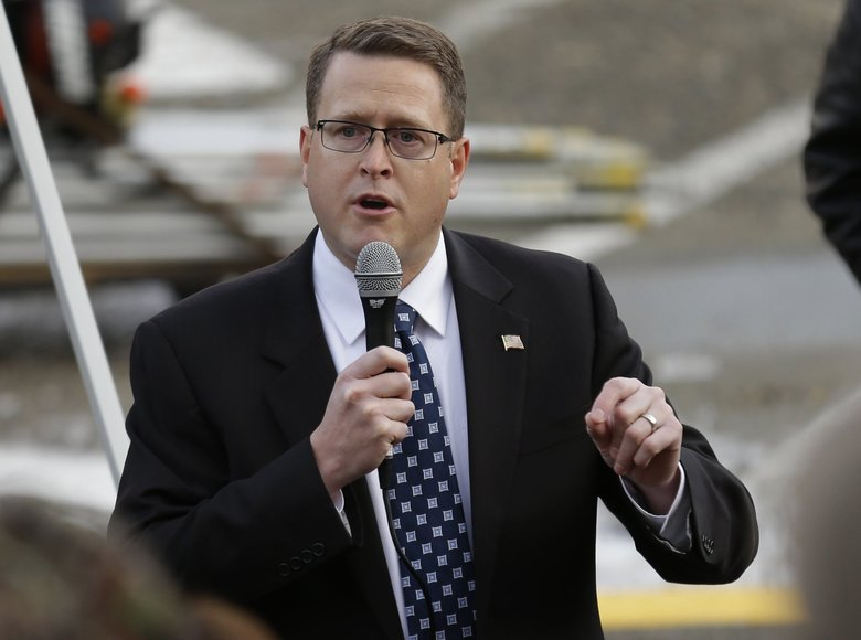 Rep. Matt Shea, R-Spokane, was the subject of an investigation into allegations that he engaged in, planned or promoted political violence. (AP Photo / Ted S. Warren)