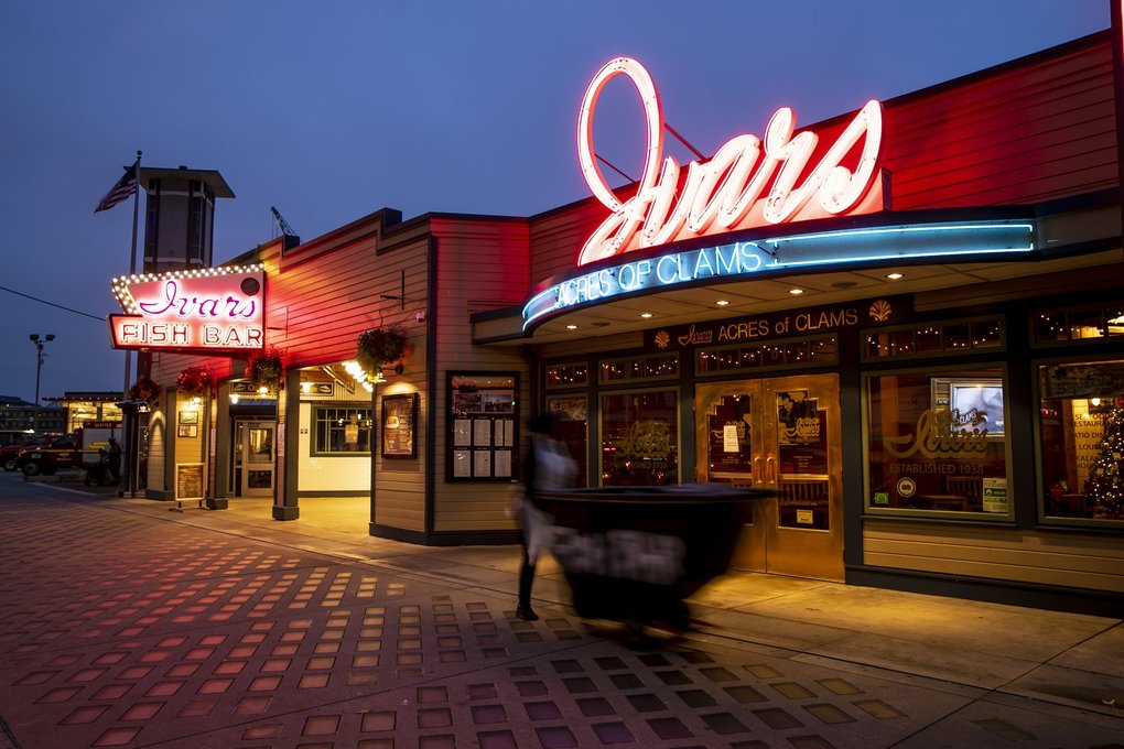 In 1947, Ivar Haglund hired Campbell Neon to design the sign for his restaurant at Pier 54 on the Seattle waterfront. The job went to Bea Haverfield, who created many of the city's iconic post-World War II neon signs. (Erika Schultz / The Seattle Times)