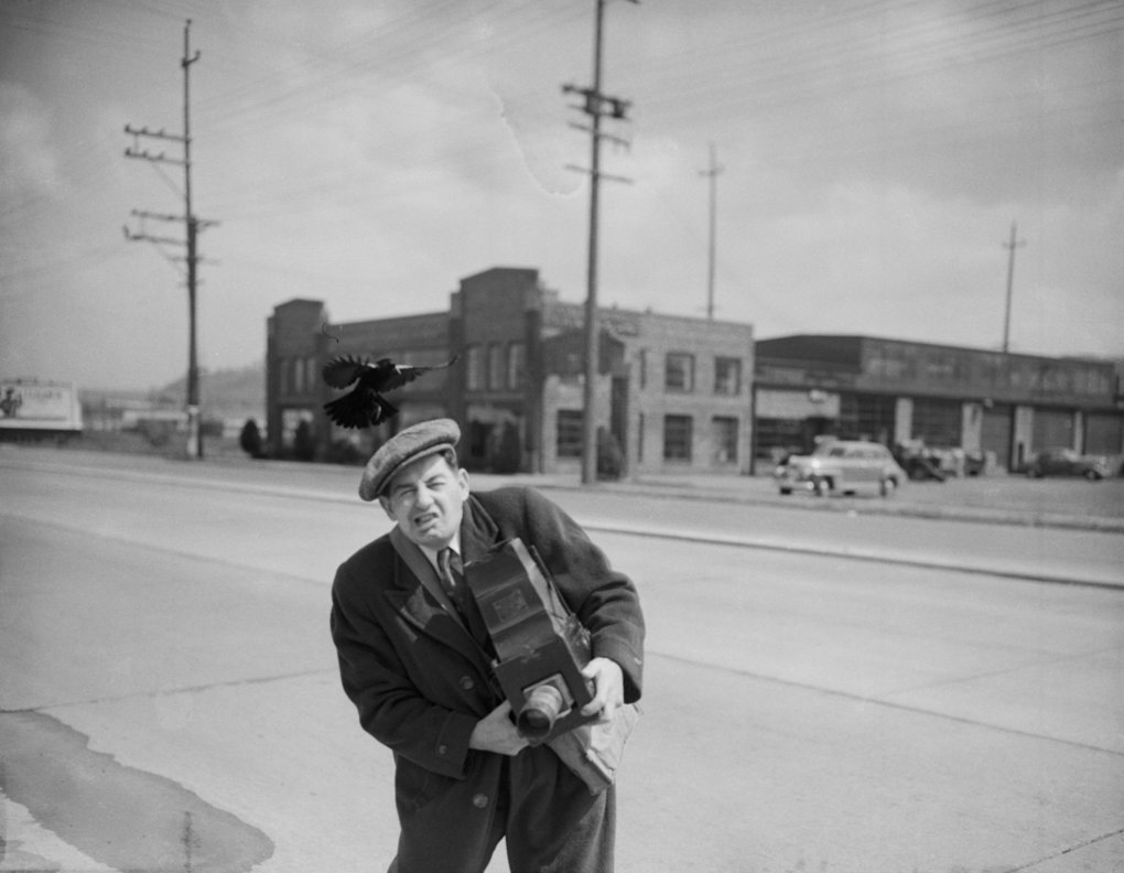 Art French, a Seattle Post-Intelligencer photographer, in 1943. French, nicknamed Happy because he never looked it, began the tradition of taking pictures of children and families with Santa Claus at the downtown Seattle Frederick & Nelson in 1944, and may have been the first in the nation to do it. (Photo courtesy Museum of History and Industry)