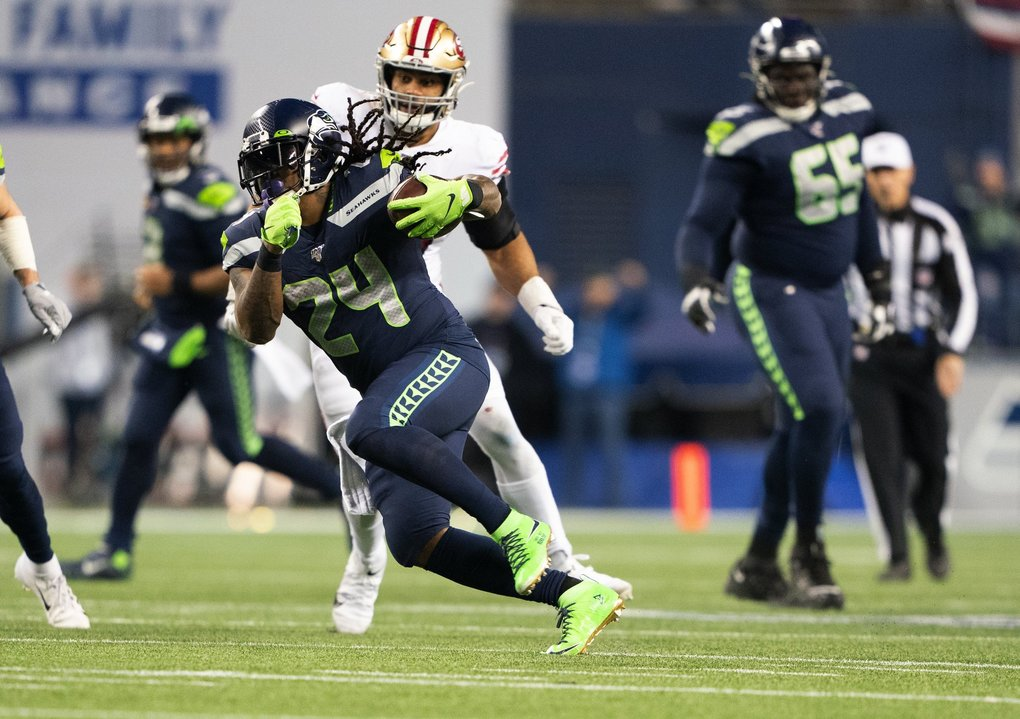Seattle Seahawks running back Marshawn Lynch gains 15 yards in the third quarter as the San Francisco 49ers play the Seattle Seahawks at CenturyLink Field in Seattle on December 29, 2019.  (Mike Siegel / The Seattle Times)