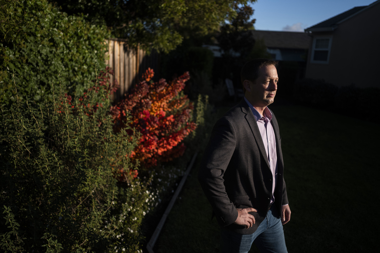 Dr. Ryan Cirz, a microbiologist and a co-founder of Achaogen, at his home in San Mateo, California. Archaogen's drug, Zemdri, showed promise in treating urinary tract infections. (Brian L. Frank / The New York Times)