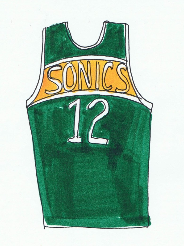 A sketch of the eventual Sonics uniform design done by Seattle native Kris Steinnes in 1977 ahead of the team using it the next 18 seasons. The uniform was recently picked by Seattle Times readers as the best in this city's sports history. (PHOTO: Courtesy of Kris Steinnes)