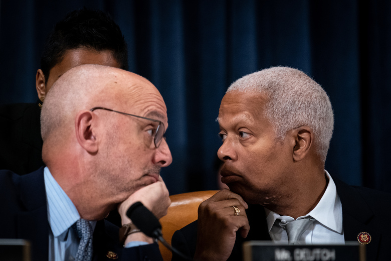 Reps. Theodore Deutch (D-Fla.), left, and Henry Johnson (D-Ga.) during a House Judiciary Committee markup on the articles of impeachment against President Donald Trump in Washington on Thursday, Dec. 12, 2019. (Erin Schaff/The New York Times)