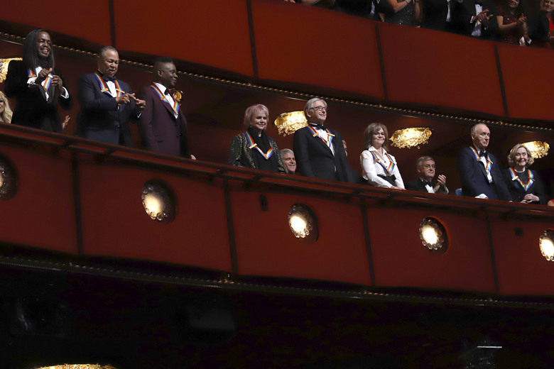 2019 Kennedy Center honorees, from left, Earth, Wind & Fire members Verdine White, Ralph Johnson and Philip Bailey; singer Linda Ronstadt, conductor Michael Tilson Thomas, actress Sally Field and Sesame Street co-founders Lloyd Morrisett and Joan Ganz Cooney attend the 42nd Annual Kennedy Center Honors at The Kennedy Center on Sunday, Dec. 8, 2019, in Washington. (Photo by Greg Allen/Invision/AP)