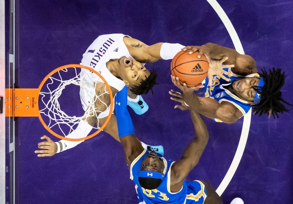 Washington Huskies forward Nate Roberts attempts to get the rebound during the first half of the NCAA men's basketball game between University of Washington and UCLA at Alaska Airlines Arena on Jan. 2, 2020. (Andy Bao / The Seattle Times)