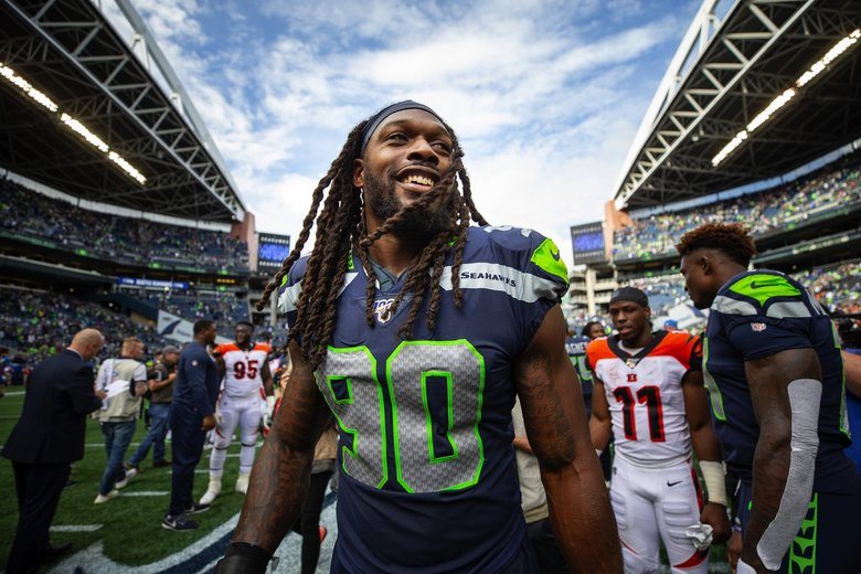 Jadeveon Clowney made his presence known in his first game as a Seahawk Sept. 8, 2019 at CenturyLink Field in Seattle, WA. (Dean Rutz / The Seattle Times)