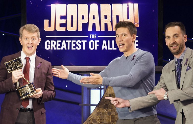 """JEOPARDY! THE GREATEST OF ALL TIME – On the heels of the iconic Tournament of Champions, """"JEOPARDY!"""" is coming to ABC in a multiple consecutive night event with """"JEOPARDY! The Greatest of All Time,"""" premiering TUESDAY, JAN. 7 (8:00-9:00 p.m. EST), on ABC.  (ABC/Eric McCandless) KEN JENNINGS, JAMES HOLZHAUER, BRAD RUTTER"""