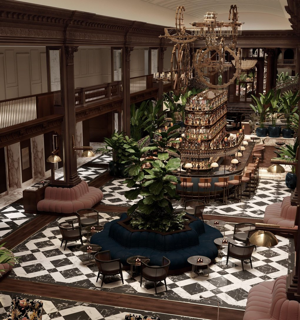 Rendering of the new lobby of the Fairmont Olympic  (Courtesy of Lázaro Rosa-Violán)