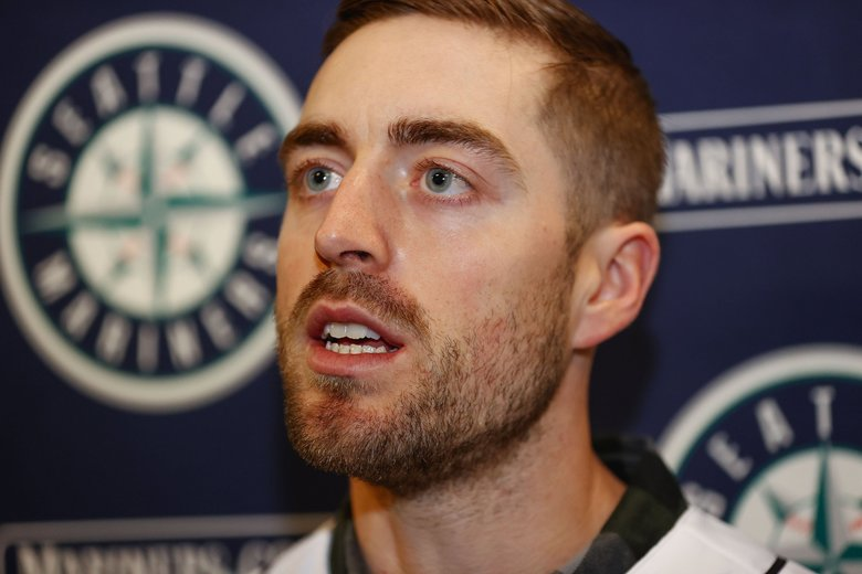 Mariners catcher Tom Murphy talks to reporters Thursday at T-Mobile Park.  The Seattle Mariners held a Spring Training Preview event for the press at T-Mobile Park Thursday, January 23, 2020.  (Dean Rutz / The Seattle Times)