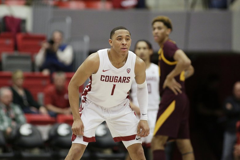 Washington State guard Jervae Robinson (1) prepares to defend during the second half of an NCAA college basketball game against Arizona State in Pullman, Wash., Wednesday, Jan. 29, 2020. (AP Photo/Young Kwak) OTK OTK (Young Kwak / The Associated Press)