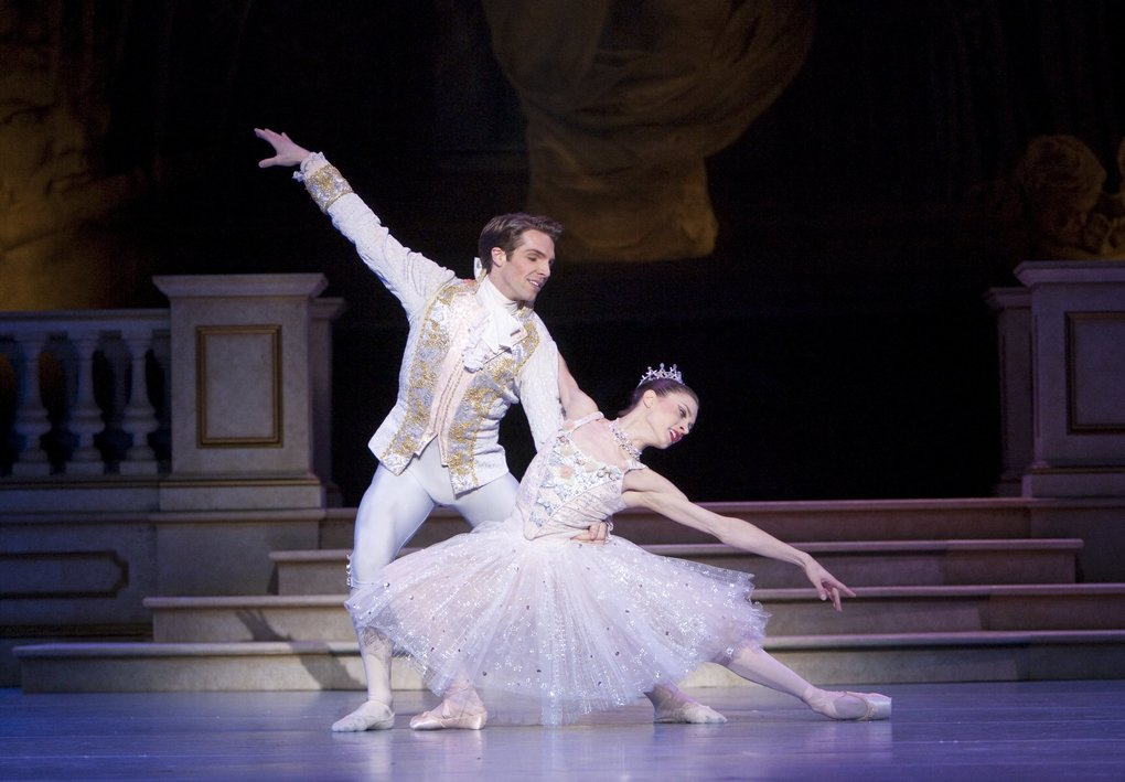 "Pacific Northwest Ballet principal dancers Lucien Postlewaite and Rachel Foster perform in Kent Stowell's ""Cinderella."" PNB brings back its production of the classic fairy tale Jan. 31-Feb. 9. (Angela Sterling)"