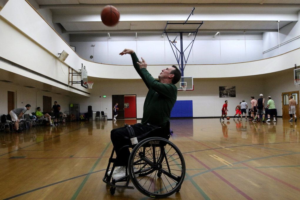Michael (Mike) Mike Schiller will shoot 100 free throws from his wheelchair in a fundraiser for MS.   His late father had multiple sclerosis and he as well.    Brothers David and Michael Schiller Michael and their dad both have/had multiple sclerosis. Michael is in a wheelchair, and their dad died last year. For a few years, David has held a fundraiser for MS where he shoots 1,000 free throws at the Jewish Community Center in Mercer Island, and his brother shoots 100 from his wheelchair.  Tuesday Jan 14, 2019 212676 (Alan Berner / The Seattle Times)