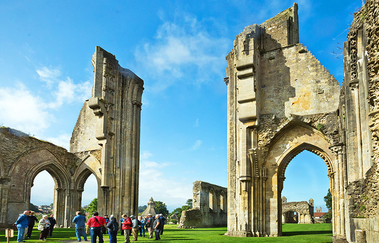 The evocative ruins of Glastonbury Abbey, in southwest England, mark one of the holiest spots in Great Britain. (Addie Mannan / Rick Steves' Europe)