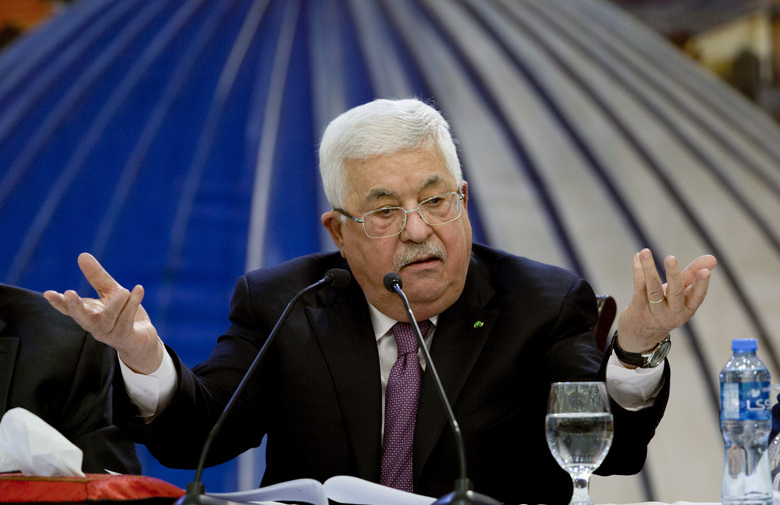 "Palestinian President Mahmoud Abbas speaks after a meeting of the Palestinian leadership in the West Bank city of Ramallah. Tuesday, Jan. 22, 2020. He said ""a thousand no's"" to the Mideast peace plan announced by President Donald Trump. (AP Photo / Majdi Mohammed)"