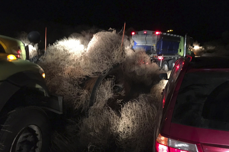 Snowplows remove a huge pile of tumbleweeds along state Route 240 near Richland on Tuesday night, Dec. 31, 2019. (Trooper Chris Thorson/ Washington State Patrol via AP)