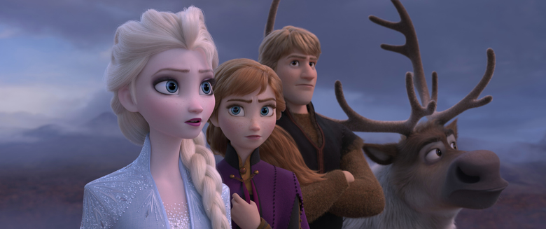 "This image released by Disney shows Elsa, voiced by Idina Menzel, from left, Anna, voiced by Kristen Bell, Kristoff, voiced by Jonathan Groff and Sven in a scene from the animated film, ""Frozen 2."" The film failed to get an Oscar nomination for best animated feature. (Disney via AP)"