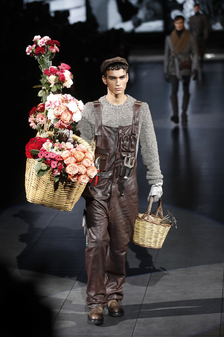 A model wears a creation as part of the Dolce & Gabbana men's Fall-Winter 2020/21 collection, that was presented in Milan, Italy, Saturday, Jan. 11, 2020. (AP Photo/Antonio Calanni)