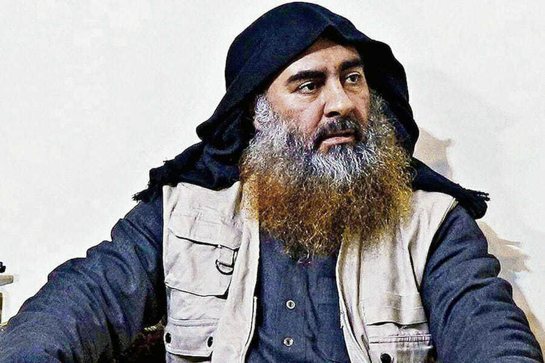 FILE – This file image released by the Department of Defense on Wednesday, Oct. 30, 2019, and displayed at a Pentagon briefing, shows an image of Islamic State leader Abu Bakr al-Baghdadi. The Islamic State group seemed largely defeated last year, with the loss of its territory, the killing of its founder in a U.S. raid and an unprecedented crackdown on its social media propaganda machine but tensions between the U.S. and Iran in the region provide a comeback opportunity for the extremist group. (Department of Defense via AP, File)