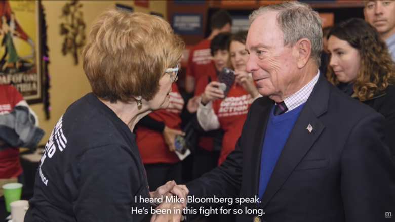 This undated image provided by Mike Bloomberg's campaign shows a scene from the Bloomberg's 2020 Super Bowl NFL football spot. This year for the first time, national politics will invade the game as presidential candidate Michael Bloomberg and President Trump have shelled out millions to broadcast campaign ads during advertising's biggest night, when nearly 100 million viewers are expected to tune into Fox. (Mike Bloomberg 2020 via AP)